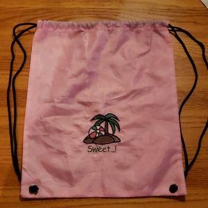 Sweet...! Pink Drawstring Backpack